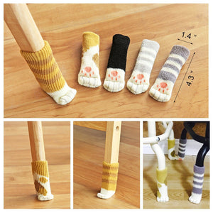 Wool Furniture Cover Knit Socks Floor Protector Cat Paw Chair Socks Leg Covers Cute