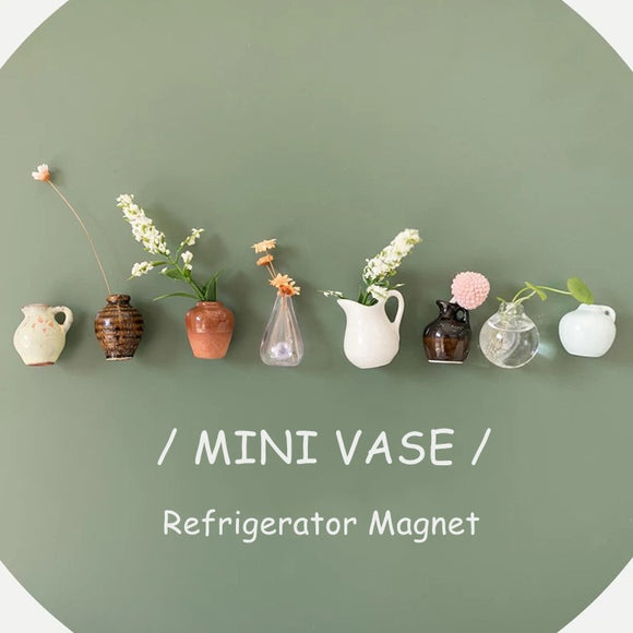 8 PCS Mini Vases Fridge Magnet Creative Fresh Decorate Vase Cute