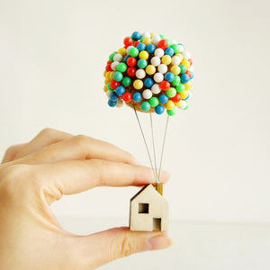 Hand Made Up Rising House - With Colorful Pins