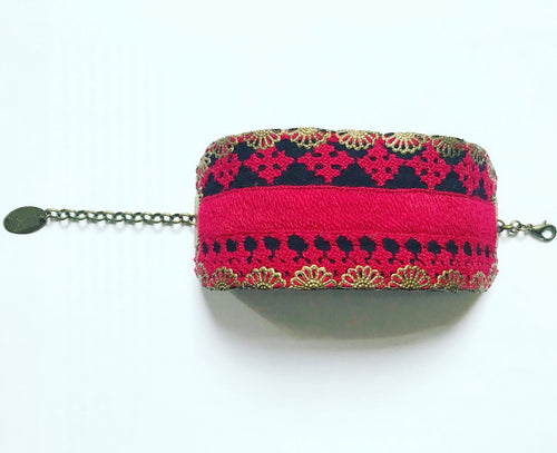 hand-embroidered bracelet cuff