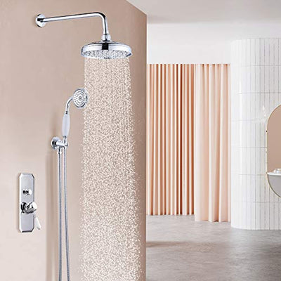 Victorian Shower Luxury Bathroom Victoria Rain Mixer Shower Combo Set Wall Mounted Rainfall Shower Head System Chrome