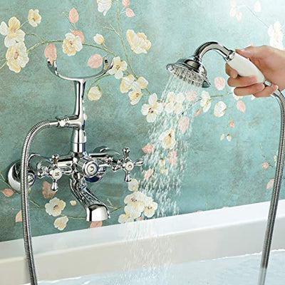 Victoria Bathroom Clawfoot Tub Bathtub Bath Faucet G1/2 with Hand Shower Chrome Wall Mounted Two Handles