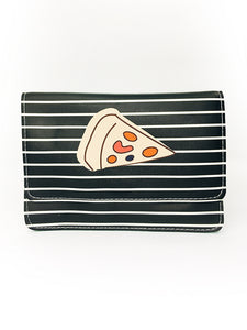 Stripe Print Wallet / Crossbody Bag with Pizza Print