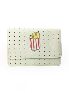 Polka Dot Print Wallet / Crossbody Bag with French Fries