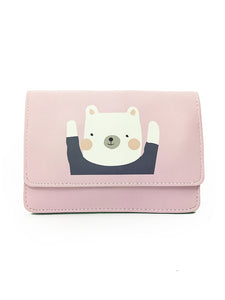 Kawaii 2-Way Clutch / Crossbody Bag with Bear Print