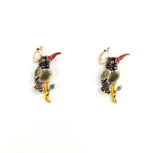 Fun Enamel Earrings - Peacock