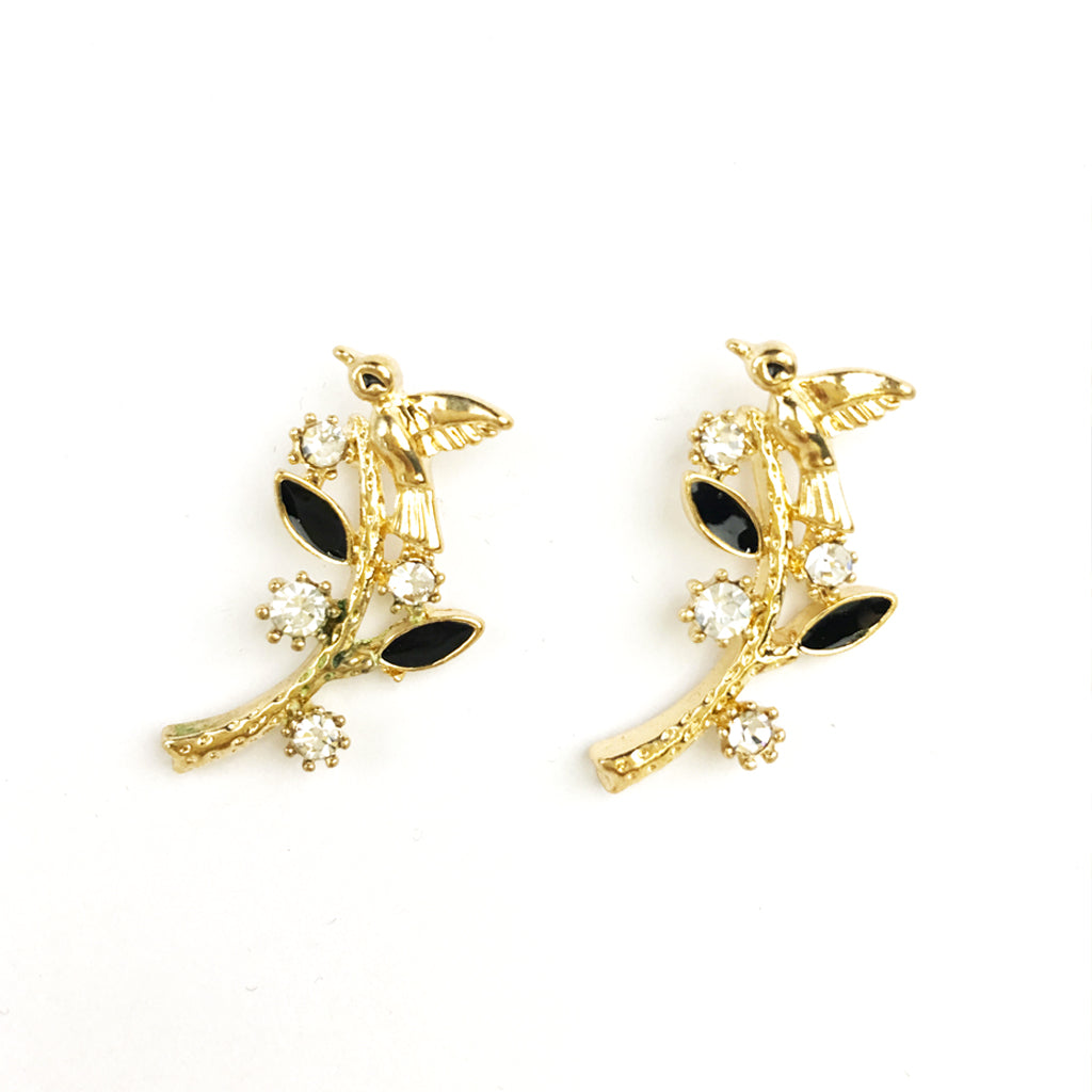 Fun Enamel Earrings - Bird With Leaves