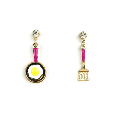 Fun Enamel Earrings - Egg & Fork