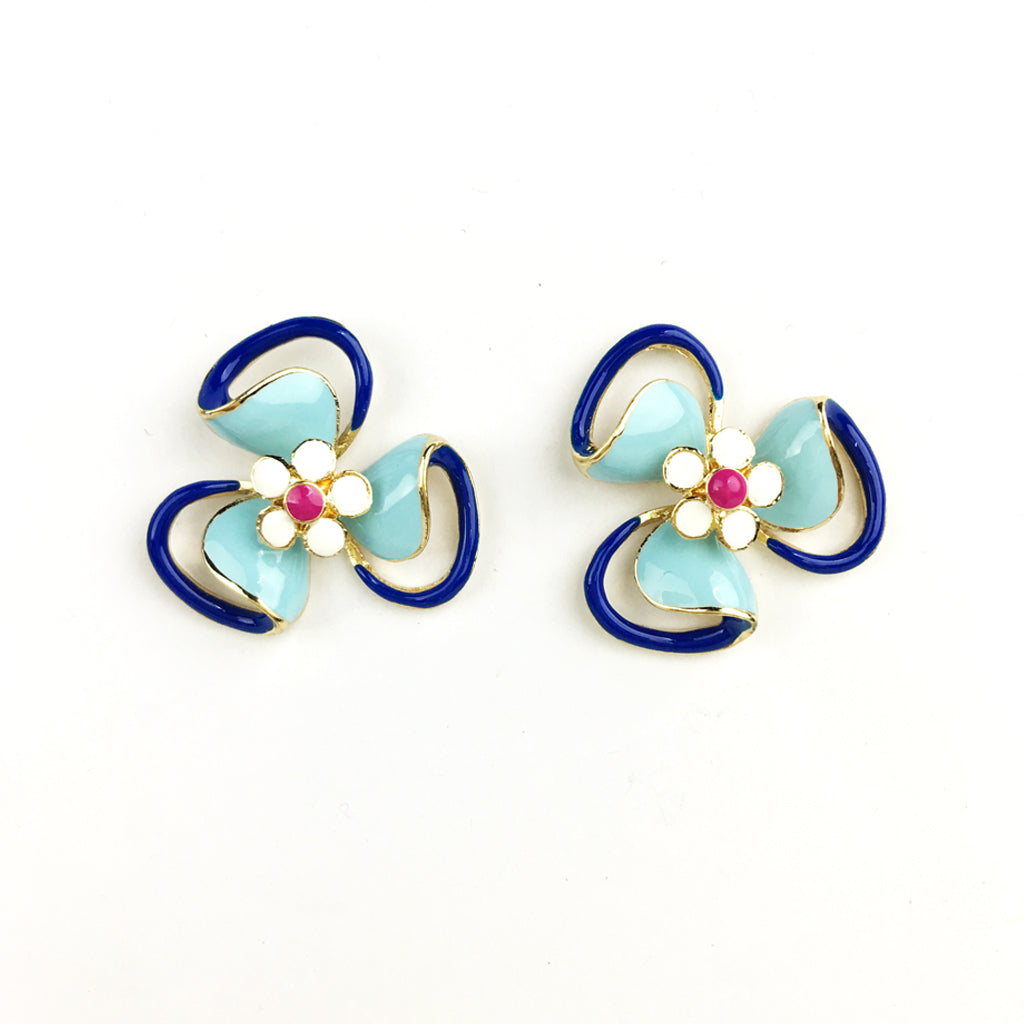 Fun Enamel Earrings - Flower
