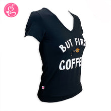 V Neck T Shirt with Message Print But First Coffee