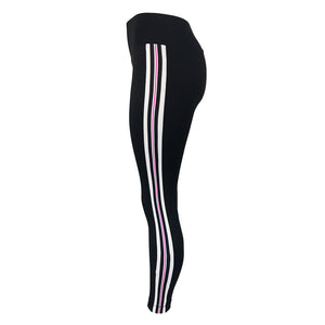 High Waist Leggings with Multicolour Side Stripes