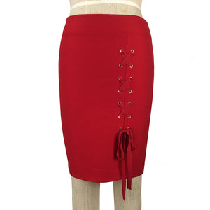 Day to Night Side Pencil Skirt with Corset Tie Detail