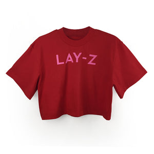 "Loose fitting Cropped Tee ""Lay-Z"" Print"