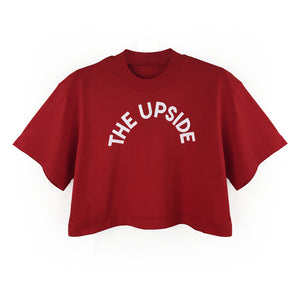 "Loose fitting Cropped Tee ""THE UPSIDE"" Print"