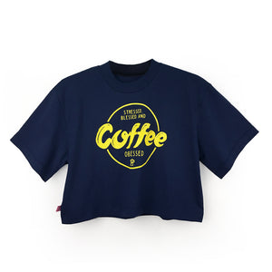 "Loose fitting Cropped Tee ""STRESSED, BLESSED & COFFEE OBSESSED"" Print"