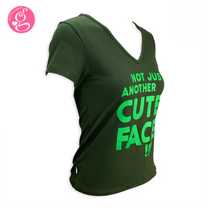 V Neck T Shirt with Message Print Not Just Another Cute Face