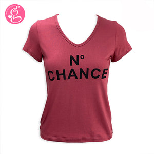 V Neck T Shirt with Message Print No Chance