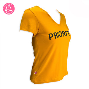 V Neck T Shirt with Message Print Priority