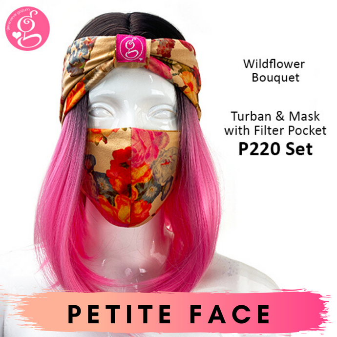 Premium Printed Petite Face Turban &  Mask with Filter Pocket Set