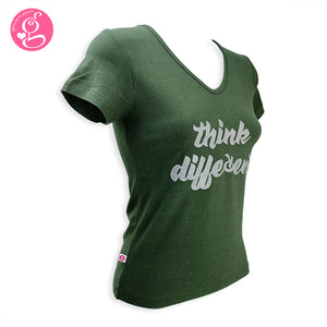 V-Neck T Shirt Message Think Different