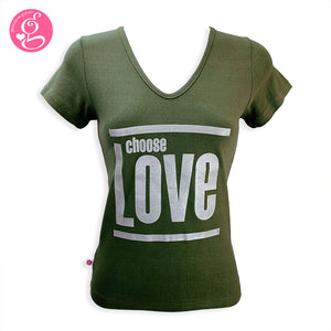 V-Neck T Shirt Message Choose Love