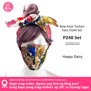 Bow Knot Turban And Face Mask Set