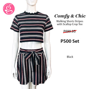 Comfy Chic Walking Shorts and Crop Top Stripes Loungewear Set