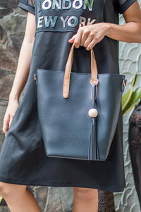 Millennial Bucket Bag with Tan Strap