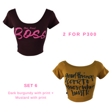 Cropped Tops With Graphic Print Set of 2 for P300