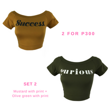 Off Shoulder Cropped Tops With Graphic Print Set of 2 for P300