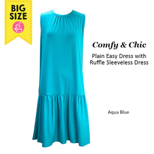 Comfy Chic Plain Sleeveless Easy Dress with Ruffle