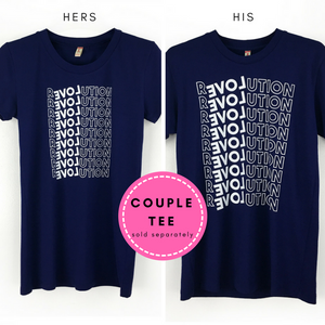 "Couple Tee His & Hers Shirts with ""Revolution"" Print"