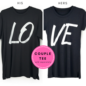 "Couple Tee His & Hers Shirts with ""LOVE"" Print"