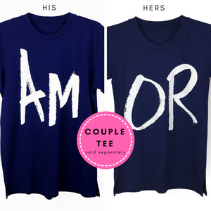 "Couple Tee His & Hers Shirts with ""AMOR"" Print"