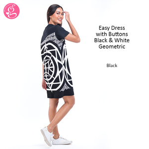 Easy Dress with Buttons Black and White Geometric