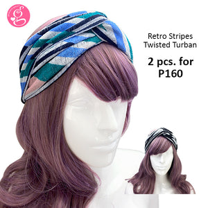 Breathable Retro Stripes Chainlink Turban and Face Mask Set