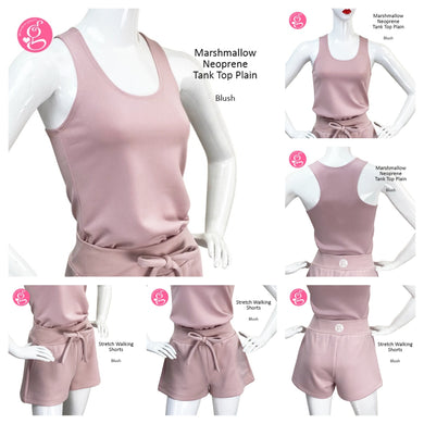 Marshmallow Neoprene Tank Top and Stretch Walking Shorts