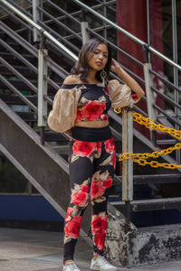 Blooming Roses Off Shoulder Blouse & Leggings Set