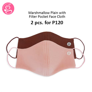 Marshmallow Plain Neoprene Mask With Filter Pocket - Adult Size (2 pcs)