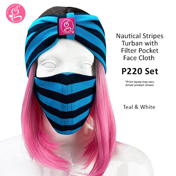 Stripe Turban &  Mask with Filter Pocket Set