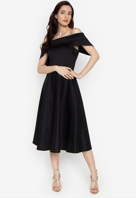 Bestselling Off Shoulder Portrait Dress Tea Length