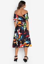 Bestselling Off Shoulder Portrait Dress Tea Length Printed