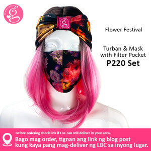 Turban &  Mask with Filter Pocket Set