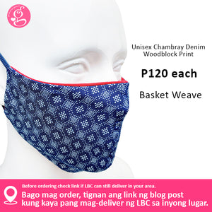 Unisex Chambray Denim Woodblock Print Mask