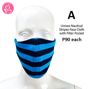 Nautical Teal and Black Stripes Mask with filter Pocket  - Unisex