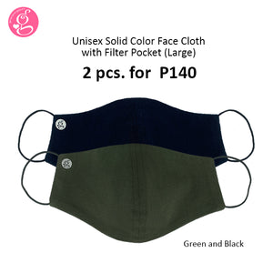 Cotton Solid Colors Large Washable Filter Pocket Face Cloth - Unisex, Comfortable & Reusable - 2 for P140