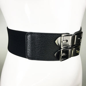 Double Buckle Waist Corset Elastic Belt