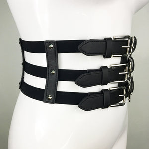 Three Buckle Corset Elastic Belt
