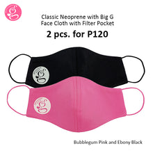 Classic Plain Neoprene With Big G Mask With Filter Pocket Unisex - Adult Size 2 pcs for P120