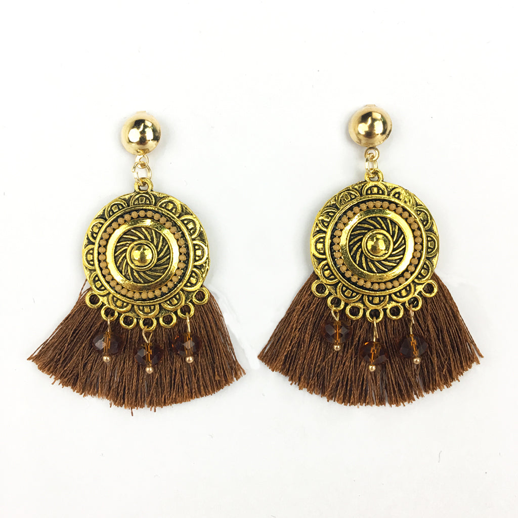 Sun Disk Tassel Earrings with Beads